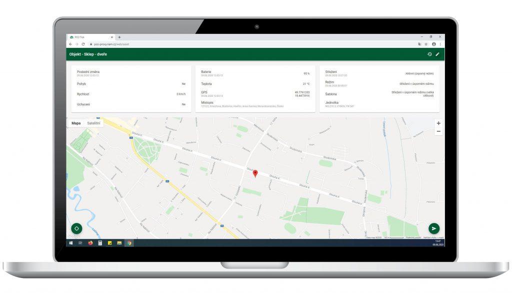 Zobrazení polohy a dalších informací o trackeru